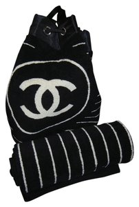 Chanel Terrycloth Terry Cloth Towel Summer Logo Black and White Beach Bag