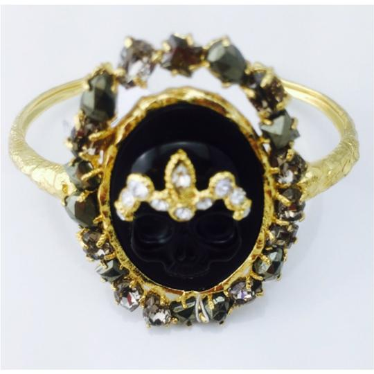 Alexis Bittar Alexis Bittar Black Agate Cameo Cuff w/ Crystal Studded Crown & Pyrite Accent Bracelet New With Tags Image 3