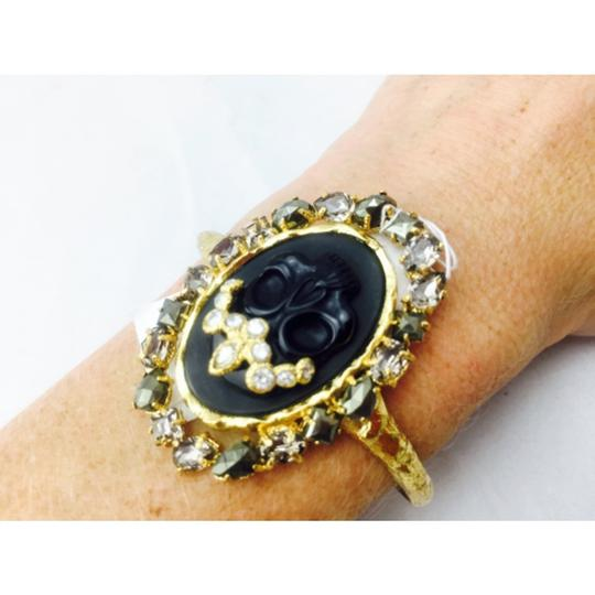 Alexis Bittar Alexis Bittar Black Agate Cameo Cuff w/ Crystal Studded Crown & Pyrite Accent Bracelet New With Tags Image 5
