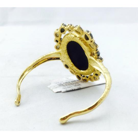 Alexis Bittar Alexis Bittar Black Agate Cameo Cuff w/ Crystal Studded Crown & Pyrite Accent Bracelet New With Tags Image 6