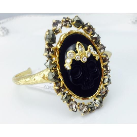 Alexis Bittar Alexis Bittar Black Agate Cameo Cuff w/ Crystal Studded Crown & Pyrite Accent Bracelet New With Tags Image 7