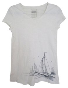 Merona Boat Print Heather V-neck Short Sleeve Navy T Shirt White