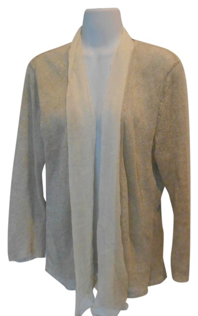 Item - Tan and Cream Washable Linen Silk Unique Medium 10 Sweater Cardigan Size 8 (M)