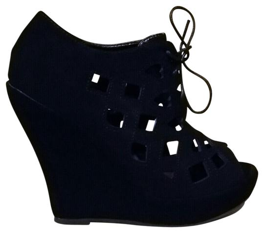 Other Cutaway Suede Booties Platform Lace Up black Wedges