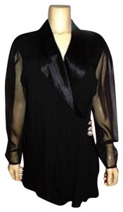 BB COLLECTION Bb Silk Button Front Sheer Sleeves Cute Size Medium P228 BLACK Blazer