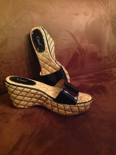 Other Patent Patent Leather Quilted Cork Black and Brown Wedges
