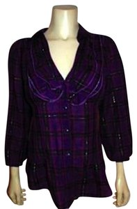 Express Medium Plaid Cute Button Down Shirt PURPLE