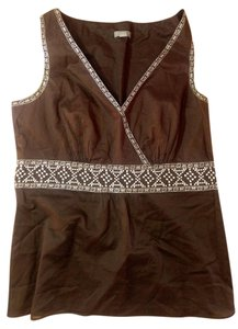 Ann Taylor Size 4 Brown Sleeveless Top BROWN WHITE