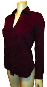 Express Small Burgundy Long Sleeves' Button Down Shirt MAROON