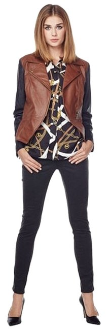 Item - Black and Cognac Brown Two-tone Faux Leather Moto Style Jacket Size 8 (M)