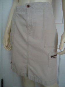 Eddie Bauer Cotton Khaki Cargo Zip Fly Front Pockets Belt Loops Mini Skirt Beiges
