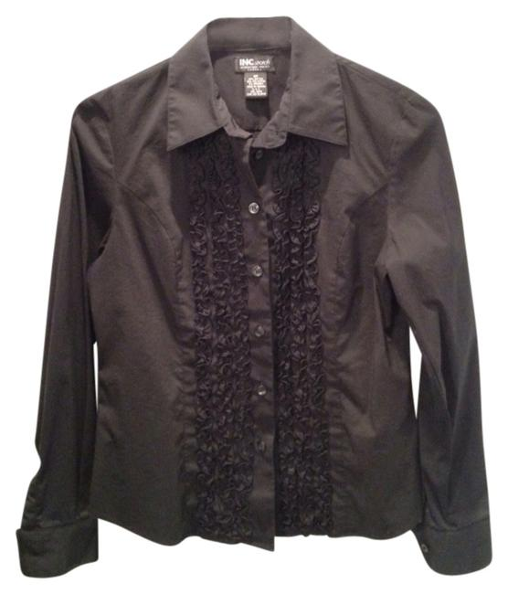INC International Concepts Button Down Shirt Black