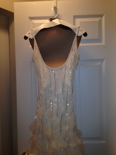 Sue Wong Off White Slip Polyester Applique Modern Wedding Dress Size 10 (M)