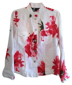 Carole Little Jacket 100% Lined Button Down Shirt White and red floral print