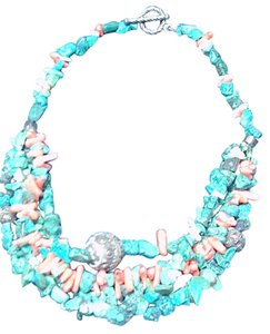 Turquoise and corral necklace