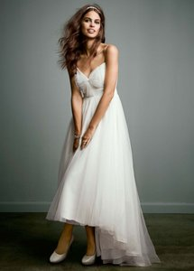 David's Bridal Galina High Low Sweetheart Neckline Wedding Dress