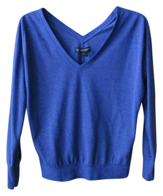 American Eagle Outfitters V-neck T Shirt Blue