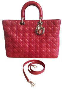 Dior Lady Red Quilted Christian Tote in dark red