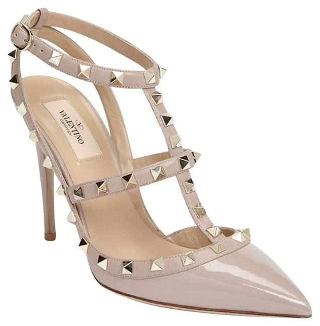 Item - Beige Rockstud Nude Patent Leather T-strap Slingback Pointed Toe Poudre 9 Pumps Size US 8.5 Regular (M, B)