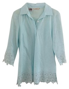Allen Edmonds Irish Linen Linen Embroidered Blue Spring Classic Vintage Maternity Blouse Tunic