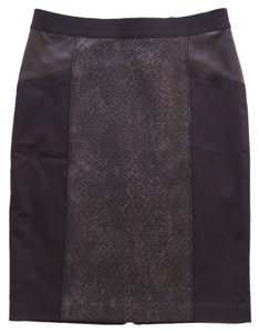 Elie Tahari Lambskin Leather Panel Pencil Knee Exposed Zip Wool Skirt black
