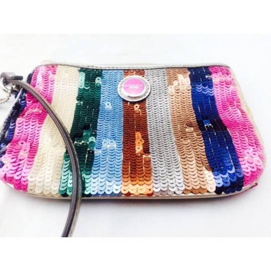 Coach Coach Multi Color Sequin Wristlet Wallet Image 9