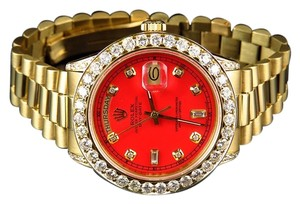 Rolex Mens 36 MM Rolex President 18038 18k Yellow Gold Day-Date Red 6.5 Ct Diamond