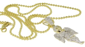 Jewelry Unlimited 10K Yellow Gold Mini Angel Jesus Diamond Piece Pendant Charm w/ Moon Cut Chain 1.0 Ct