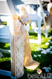 Burlap And Lace Chair Bows