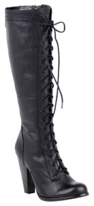 Seychelles Round Toe Lace Up Knee High Heel Vintage Black Boots