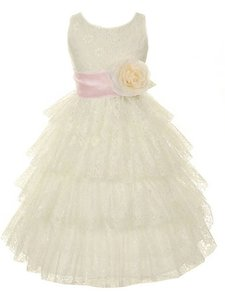 Lace Tiered Ivory Flower Girl Dress
