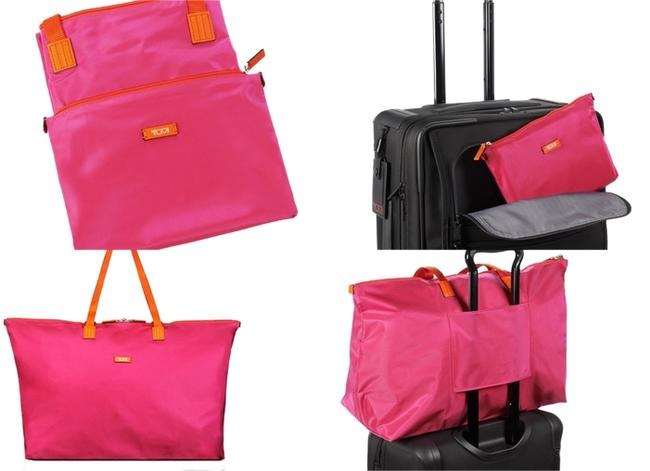 Item - Packable Lightweight Duffel Tote with Small Pouch Pink Fuchsia Nylon Weekend/Travel Bag