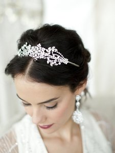 Mariell Crystal Wedding Headband Or Tiara With Vintage Art Deco Floral Design