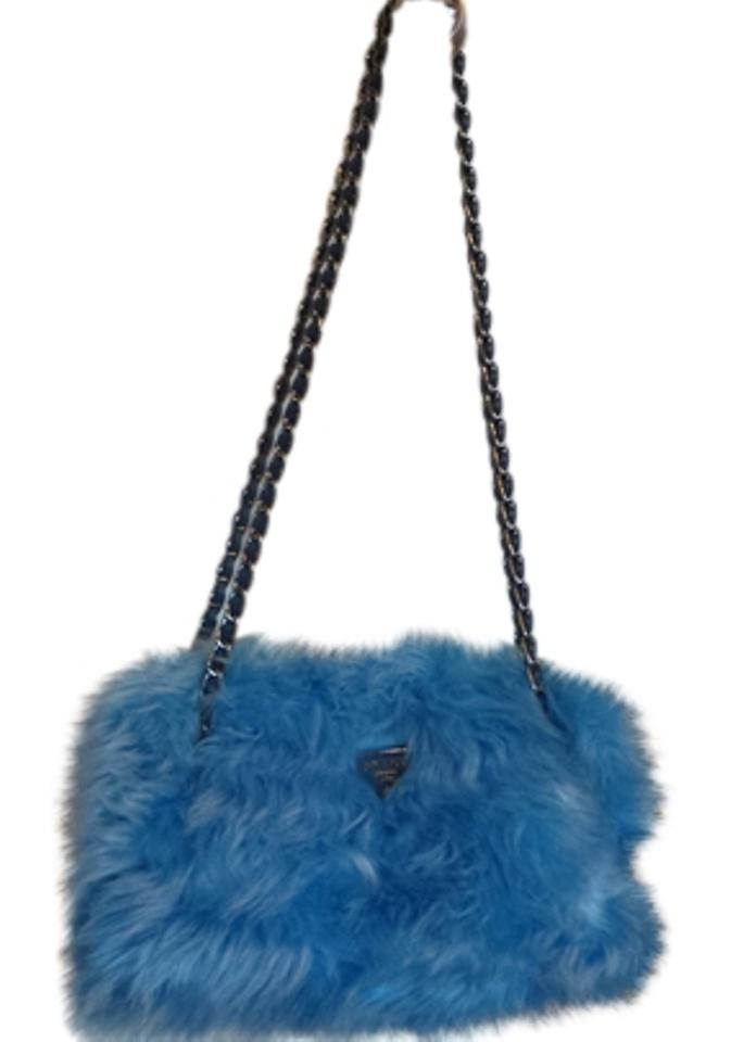 Prada New Runway Chain Handbag Purse Blue Wool Faux Fur Shoulder Bag ... 15fc70cff3995