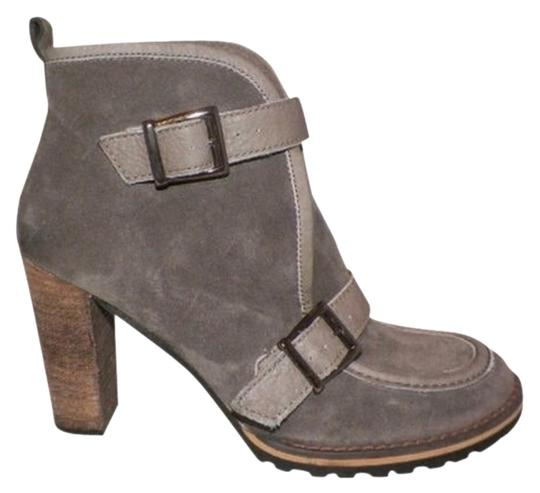 Bettye Muller Leather Heel Gray Boots
