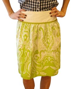 J.Crew Floral Art Deco Skirt green and white