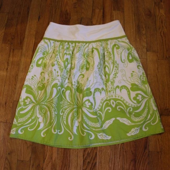 J.Crew Floral Art Deco Skirt green and white Image 1