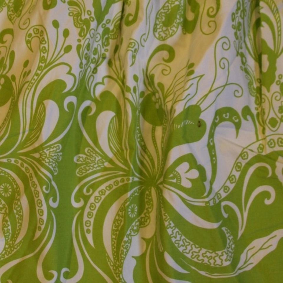 J Crew Green And White Art Deco Floral Pattern Skirt Size 4 S 27