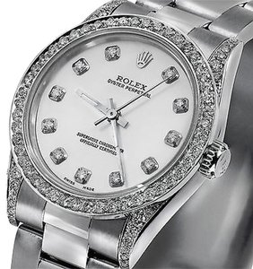 Rolex Rolex Ladies Diamond Oyster 67480 Midsize 31mm White Mother Of Pearl Dial Watch