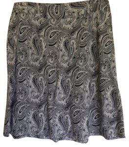 Jones New York Paisley Black Work Skirt Black, White