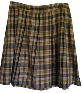 Merona Plaid Work Professional Skirt Multi, Green, Cream