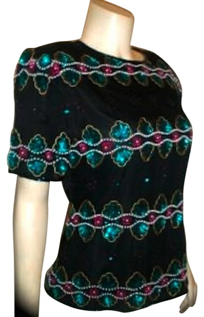 Other Vintage Beaded Size Medium Stenay Top BLACK Image 0