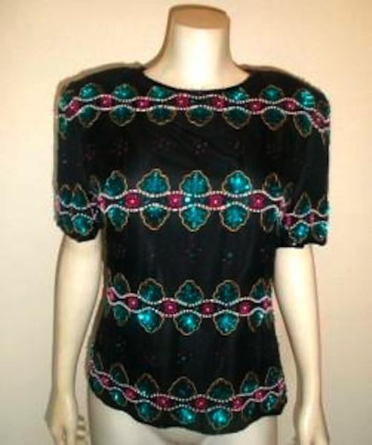 Other Vintage Beaded Size Medium Stenay Top BLACK Image 1