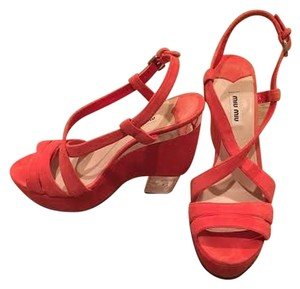 Miu Miu Wedge Open Toe Slingback Metallic Coral Sandals