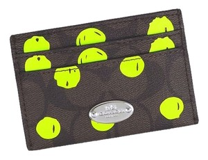 Coach Coach Card Case Dot Print Brown Neon Yellow F63237 NEW WITH TAG
