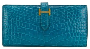 Hermès Hermes Blue Izmir Shiny Alligator Bearn Wallet Gold Hardware