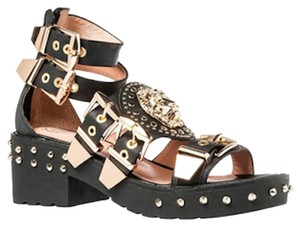 Jeffrey Campbell Lion Lion Head Leather Buckle Studded Gold Black Sandals