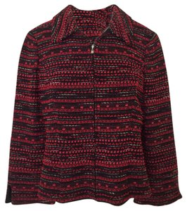 St. John St. John Red/Black Knit Jacket