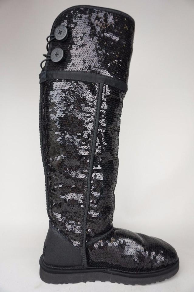 8ae91d6f0e9 UGG Australia Black Over The Knee Bailey Button Sequin Sparkles Fur  Boots/Booties Size US 6 Regular (M, B)