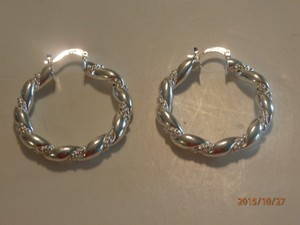 Silver Solid Sterling Plated Hoop Free Shipping Earrings